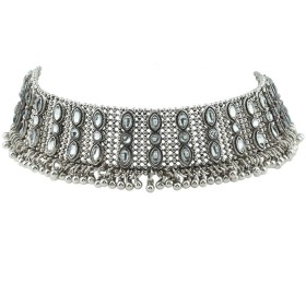 YAZILIND襟チョーカーパンクネックレス分厚いよだれかけネックレス、レトロスパークリングネックレス女性ファッションジュエリー用女の子シルバー