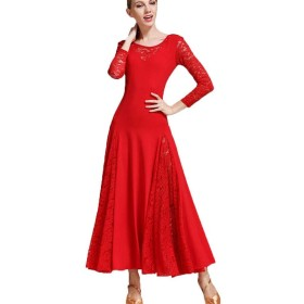 エレガントな大きなスイング現代の練習用スカートメッシュ、社交ダンスの衣装長袖レオタードシンプルなタンゴドレス女性用 (色 : 赤, サイズ さいず : XL)