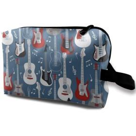 ギター 柄 化粧バッグ 収納袋 女大容量 化粧品クラッチバッグ 収納 軽量 ウィンドジップ