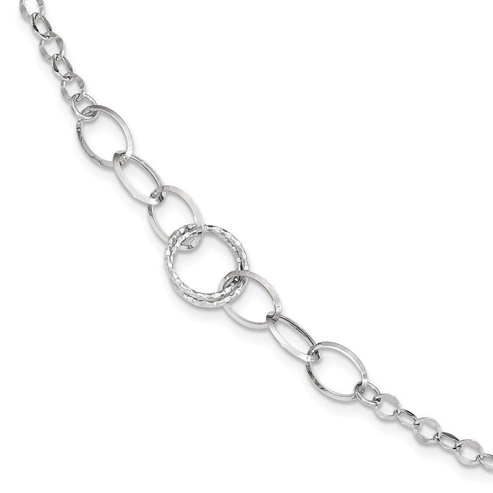 Lex /& Lu Leslies 14k White Gold D//C Oval Open Link Chain Necklace LAL92237