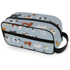 たくさんかわいい犬 化粧ポーチ トイレタリーバッグ 防水 大容量 洗面用具 トラベルポーチ 収納ポーチ 出張 海外 旅行グッズ 男女兼用