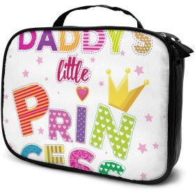 Daddy's Little Princess Funny Slogan Travel Toiletry Bag Cosmetic Make up Organizer for Women and Girls