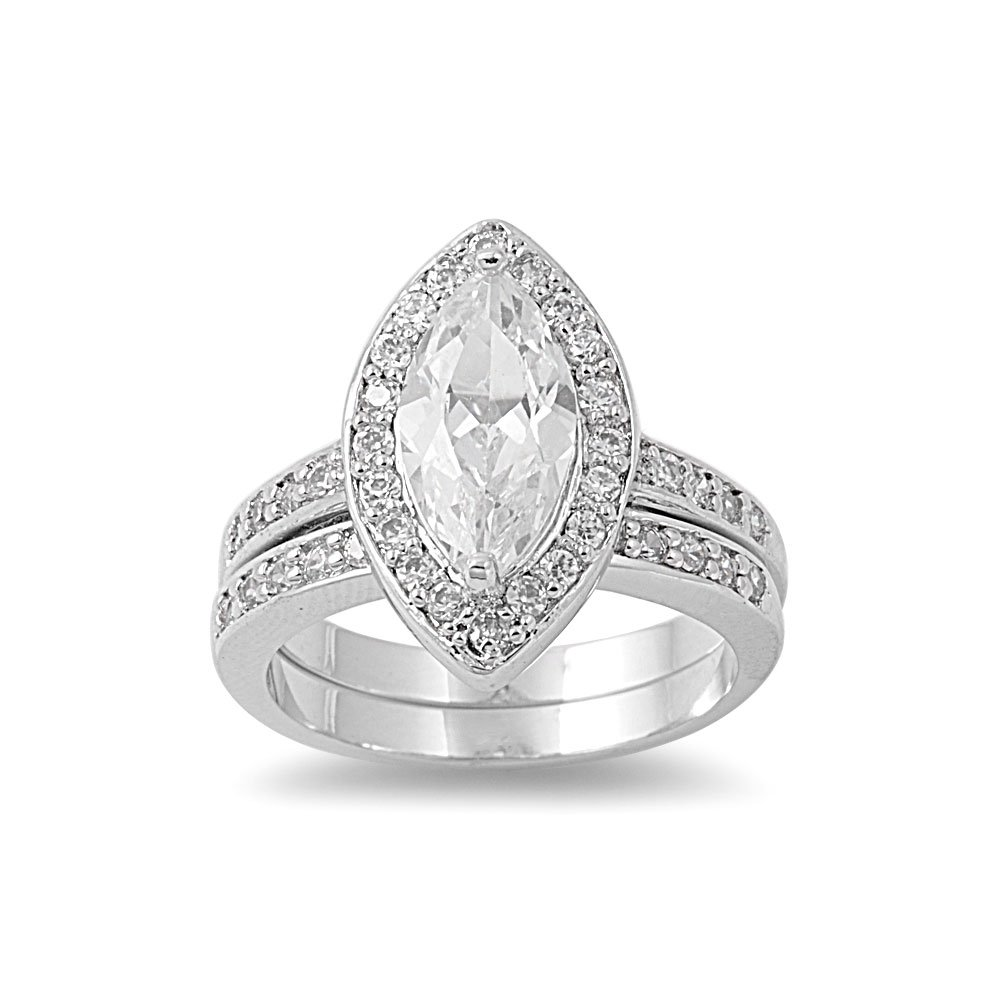 CloseoutWarehouse Round Center Stone Wedding Cubic Zirconia Ring Sterling Silver 925