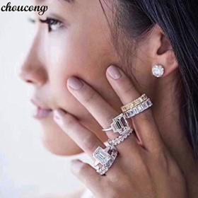 Choucong エレガントな約束リング 925 スターリングシルバー AAAAA Cz 婚約のためのウェディングバンドリング女性男性ファインジュエリーギフト