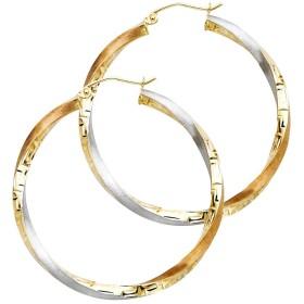 Paradise Jewelers Earring Collection レディース 14Kイエローゴールドトライ色3mmのツイストフープイヤリング