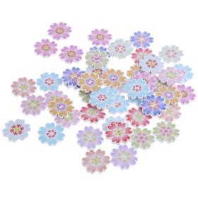 手作り ボタン 装飾的 クラフト 服 衣類 袋 アクセサリー 花形 約50個 全3種 - 1