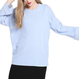 Tiandao レディース秋冬 シンプルラウンドスリーブラウンドネックプルオーバーセーターアウトシャツ (Color : Blue, Size : Free size)