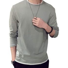oolivupf 長袖 tシャツ メンズ トレーナー トップス 服 ファッション 無地 肌触りよい おしゃれ お洒落仕様 春 秋 冬 トップス メンズファッション(330-lv-M)