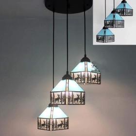 ティファニースタイル3ライトシャンデリア照明、ステンドグラスシェード、ビンテージ天井吊り下げ式照明器具キッチン島ダイニングルームリビングルームベッドルーム,G