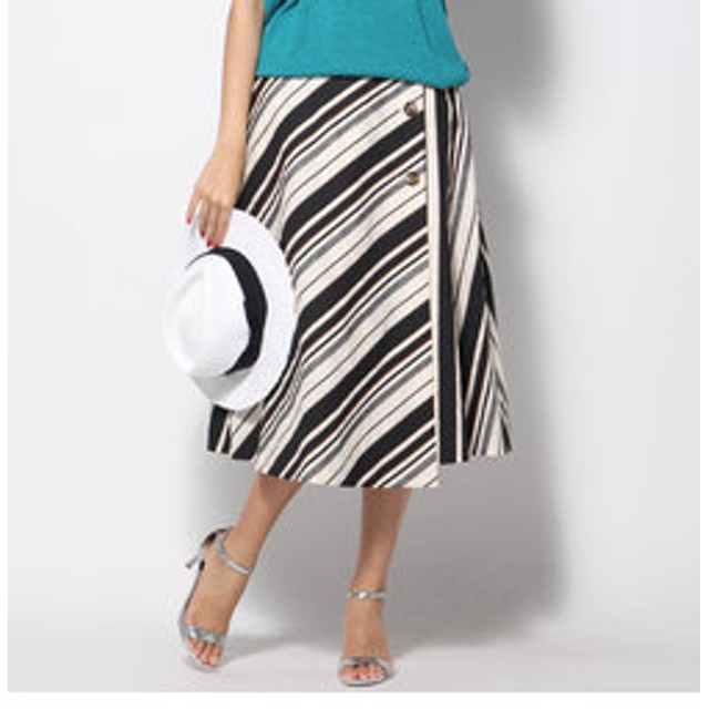 【J Lounge:スカート】≪大きいサイズ≫マルチストライプラップスカート
