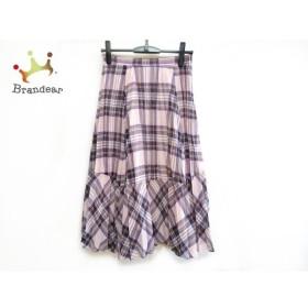 アプワイザーリッシェ Apuweiser-riche スカート サイズ2 M レディース 美品 ピンク×黒×マルチ 新着 20190912