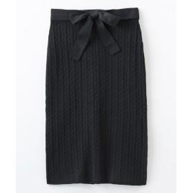 ケーブル編ニットスカート(共布リボン付) (ひざ丈スカート)Skirts, 裙子