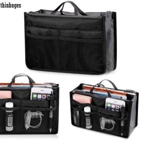FidgetGear 新しい女性の旅行化粧品メイクアップインサートポーチトイレタリーバッグ財布多機能 ブラック