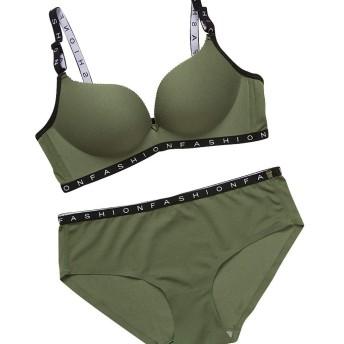 女性下着 ブラジャー 女性のためのセクシーなレターブラは、下着セットを厚くブラジャーランジェリーブラーをプッシュアップ 脇肉スッキリ,リフトアップ ブラジャー&ショーツ セット4カラー (グリーン, 85AB)