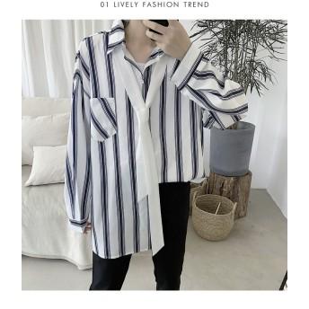 [55555SHOP] 秋向けシャツ早割中 メンズトップス シャツ ネクタイ付きシャツ 長袖 ファッション アウター ジャケット
