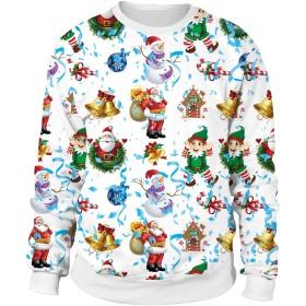 ユニセックスカップルスウェット3Dプリントイモージョラウンドカラー長袖スエットシャツフードなしプルオーバートップ (色 : White, サイズ : M)