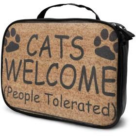 犬用の猫ようこそ(人が許容)キャンバスメイクアップバッグポーチ財布ハンドバッグオーガナイザージッパー付き