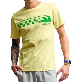 ルービック(RUBIK) メンズ Tシャツ メンズ 半袖 プリントTシャツ 半袖Tシャツ カットソー XL Lイエロー(チェッカー)