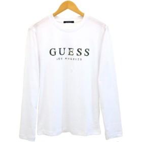 GUESS(ゲス) ロング スリーブ Tシャツ ロンT 立体 ブランドロゴ 迷彩柄 ウレタンフォーム 長袖 MJ3K8513MI ブラック ホワイト (ホワイト, M)