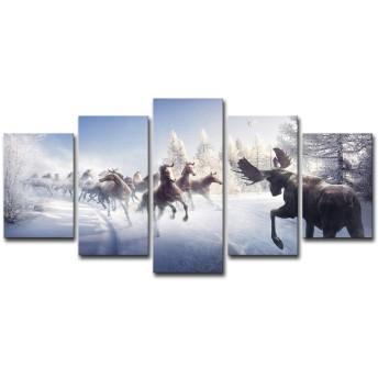 近代的なポスター絵画の抽象画布の壁の芸術のハイビジョンを印刷して家居を印刷して5件走っている馬と鹿の雪景色の冬の鹿の架油絵、ズックの絵