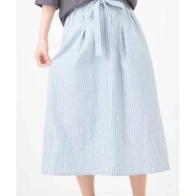 【CUBE SUGAR:スカート】サッカー Aライン マルチストライプ ギャザースカート