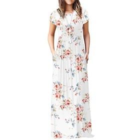 KRUIHAN レディース 全長 マキシ ドレス プラスサイズ プレーン カジュアル ストリートウェア XXLサイズ ホワイト