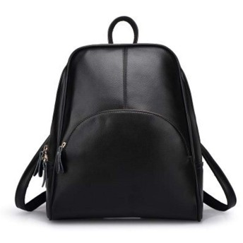 ZASUBC 旅行女性バッグノートブックバックパック革牛革カジュアルバックパック女子大学風バックパック (Color : Black, Size : One size)