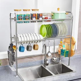 食器乾燥ラック シンク上ディスプレイスタンド 水切り ステンレススチール キッチン用品 収納棚 キッチン用品 ストレージラックステンレススチール (Color : 79cm)
