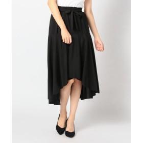 【83%OFF】 ミューズ リファインド クローズ イレヘムウエストリボンスカート レディース クロ M 【MEW'S REFINED CLOTHES】 【セール開催中】