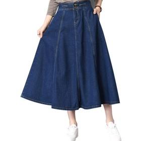 YKIbeauty デニムスカート ロング丈 フレア 2way サロペットスカート プリーツ ポケットあり 体型カバー 大きいサイズ ゆったり カジュアル 通勤 通学 (S)
