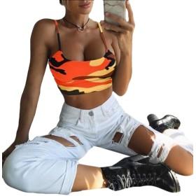 chenshiba-JP 女性Vネックタンクトップノースリーブルーズドレッシートレーニングシャツ Orange L