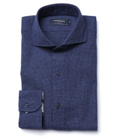 NEWYORKER 起毛無地 / 長袖カッタウェイシャツ ドレスシャツ,ブルー(70)
