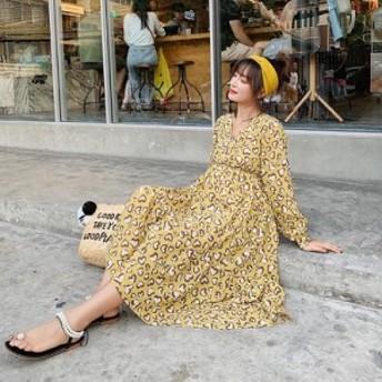ハート レオパード ロング ワンピース 長袖 マキシ マタニティ 秋 冬 春 ゆったり カシュクール 黄色 かわいい ママ 大きいサイズ XL 綿
