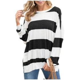 EnergyWD Women Casual Trendly Long-sleeve Color Splice Stripes T Shirts Black S