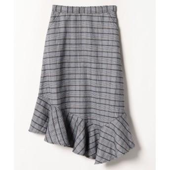 チェックアシメスカート