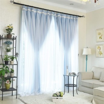 ブルー 韓式姫系 バラ模様 レースカーテン 超綺麗 インテリア カーテン