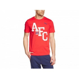 (プーマ) Puma アーセナル フットボールクラブ Arsenal FC オフィシャル商品 メンズ クレスト Tシャツ (S) (レッド)