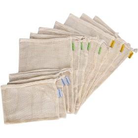 Atopsell 再利用可能 メッシュ プロデュースバッグ BCI コットン プレミアム 軽量 洗濯可能 耐久性 10枚セット 3サイズ展開 食料品買い物用 Sサイズ3個 Mサイズ4個 Lサイズ3枚