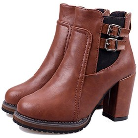 [SENNIAN] スリッポン ブラウン ブーティ アンクル ブーツ 太めヒール レディース 26.5cm ショート ブーツ 8.5センチヒール OL 通勤 デート 合わせやすい 滑り止め フラットファーム コンフォート 防撥水 カジュアル ブーツ 美脚効果