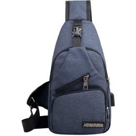 斜めがけ ボディバッグ ショルダーベルトメンズ 通勤通学 iPad mini 収納可 USB充電ポート搭載 (青)