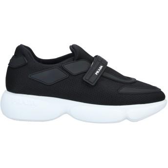 《セール開催中》PRADA レディース スニーカー&テニスシューズ(ローカット) ブラック 35.5 紡績繊維 / 革