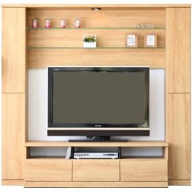 ハイタイプ テレビ台 壁面 テレビボード 幅190cm 高さ180cmホワイト木目 ナチュラル ブラウン サバンナ (ナチュラル)
