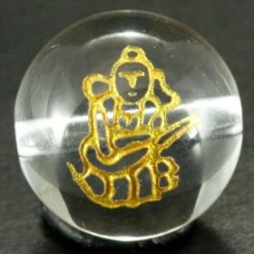 【石流通センター】【彫刻ビーズ】水晶 12mm 線彫り (金彫り) 七福神 「弁財天」 天然石 パワーストーン