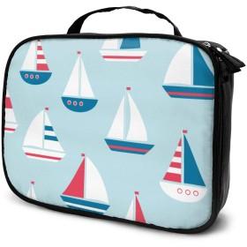 かわいい漫画帆船ポータブル旅行メイク化粧品バッグオーガナイザー多機能ケーストイレタリーバッグ用女性
