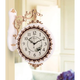 家の装飾時計 無垢材両面壁掛け時計、ミュートクリエイティブ壁掛け時計リビングルーム大型両面時計シンプルな時計台 (Color : A)