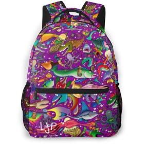 男女兼用のかわいい カジュアルバック パック リュックサック ファッションバッグ 旅行バックパック カレッジバッグ スポーツ ハイキング アウトドア 人気 高校生 中学生 大学生 通学通勤 大容量-面白い魚紫