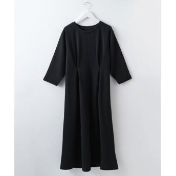 ふくれジャガードウエストタックデザイン7分袖ワンピース (ワンピース)Dress, 衣裙, 連衣裙