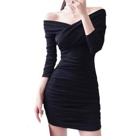 YOUYOUOK 春と秋 スリム 長袖ニットスカート オフショルダードレス 単語の肩 タイトフィットのヒップスカート セクシーなドレス ステップスカート 気質 宴会ドレス S-XL (ブラック,L)