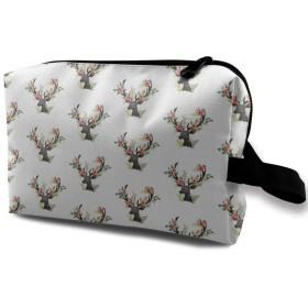 花の鹿 化粧ポーチ トイレタリーバッグ トラベルポーチ 洗面用具入れ フルメイクセットバッグ 大容量 化粧品収納 出張 海外 旅行グッズ 育児グッズ レディース インナーバッグ