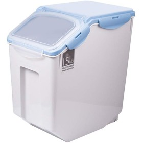 Z-Storage 穀物コンテナ、容器米樽プラスチックファミリー10kg15kgシール穀物および小麦粉に適した防湿米保管ボックス (Color : Blue, Size : 15kg)
